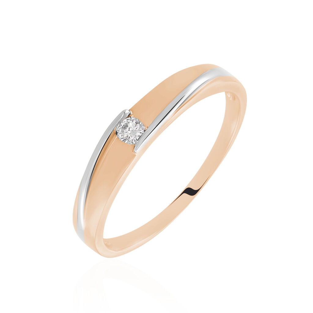 Bague Solitaire Alexandrina Or Bicolore Diamant