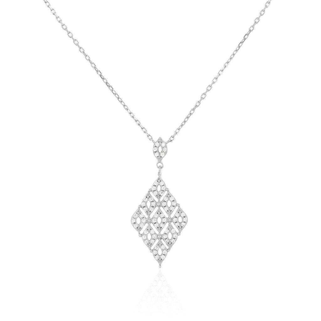 Collier Argent Blanc Oxyde De Zirconium - Colliers fantaisie Femme | Histoire d'Or