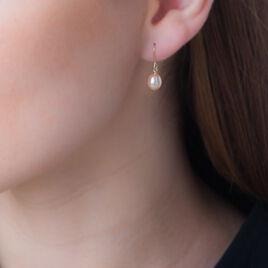 Boucles D'oreilles Pendantes Douceur Or Jaune Perle De Culture - Boucles d'oreilles pendantes Femme   Histoire d'Or