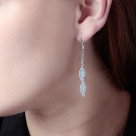 Boucles D'oreilles Pendantes Fabia Argent Blanc - Boucles d'Oreilles Plume Femme | Histoire d'Or