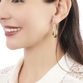 Créoles Olivia Ovale Plaque Or Jaune - Boucles d'oreilles créoles Femme | Histoire d'Or