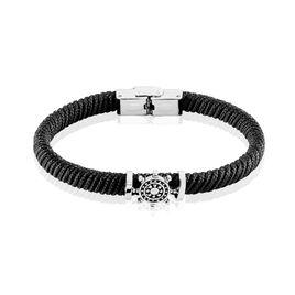 Bracelet Acier Cordon Motif Gouvernail Acier - Bracelets cordon Homme | Histoire d'Or