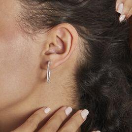 Créoles Argent Rhodié Django Oxydes De Zirconium - Boucles d'oreilles créoles Femme   Histoire d'Or