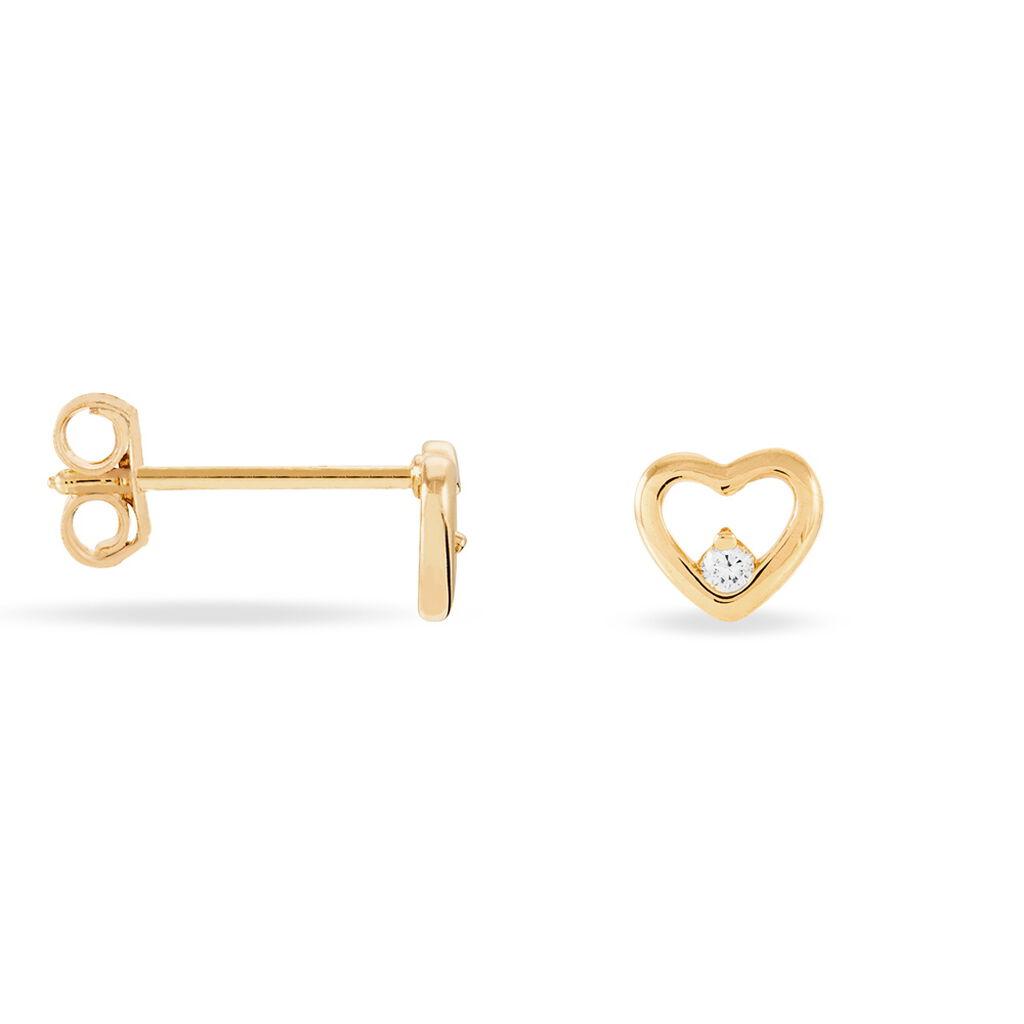 Boucles D'oreilles Puces Naliya Plaque Or Jaune Oxyde De Zirconium - Boucles d'Oreilles Coeur Femme   Histoire d'Or
