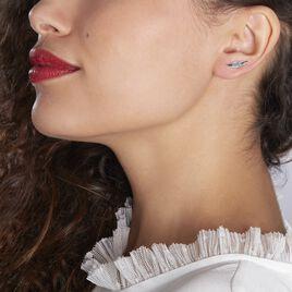 Bijoux D'oreilles Puja Argent Blanc Oxyde De Zirconium - Boucles d'Oreilles Plume Femme | Histoire d'Or