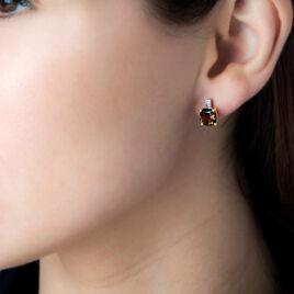 Boucles D'oreilles Puces Or Jaune Quartz Et Diamant - Boucles d'oreilles pendantes Femme   Histoire d'Or
