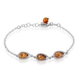 Bracelet Anaide Argent Blanc Ambre - Bracelets fantaisie Femme   Histoire d'Or
