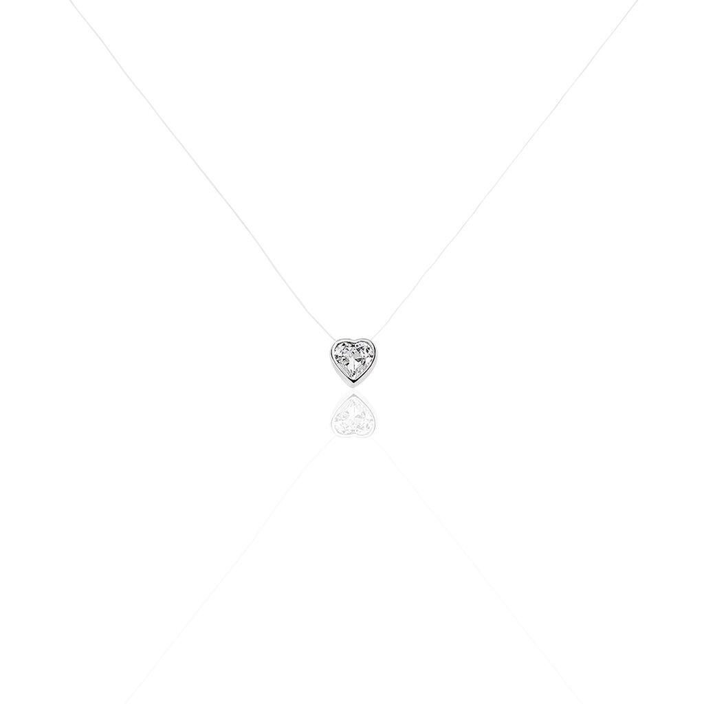 Collier Nylon Argent Blanc Oxyde De Zirconium - Colliers Coeur Femme   Histoire d'Or