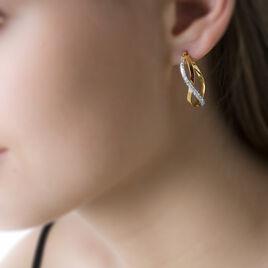 Créoles Micha Vrillees Rondes Or Bicolore - Boucles d'oreilles créoles Femme   Histoire d'Or