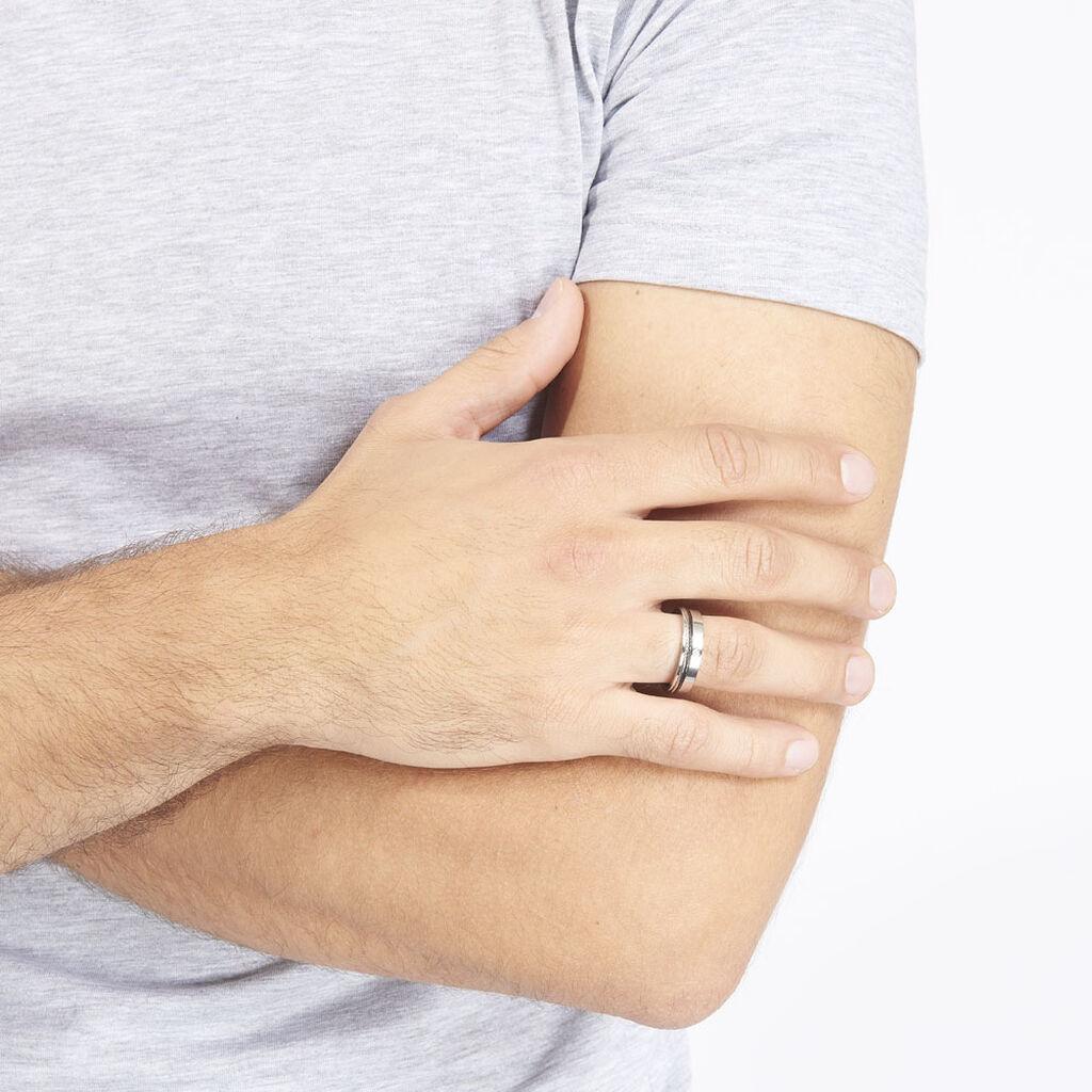 Bague Madine Acier Blanc Diamant - Bagues avec pierre Homme   Histoire d'Or
