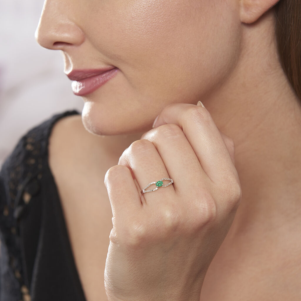 Bague Orlana Or Blanc Diamant Et Emeraude - Bagues solitaires Femme   Histoire d'Or