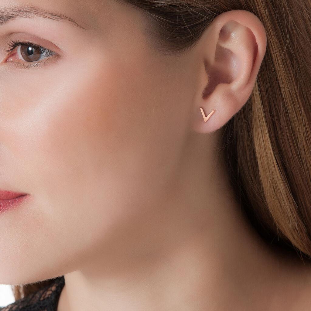 Boucles D'oreilles Puces Celene Or Rose - Clous d'oreilles Femme | Histoire d'Or