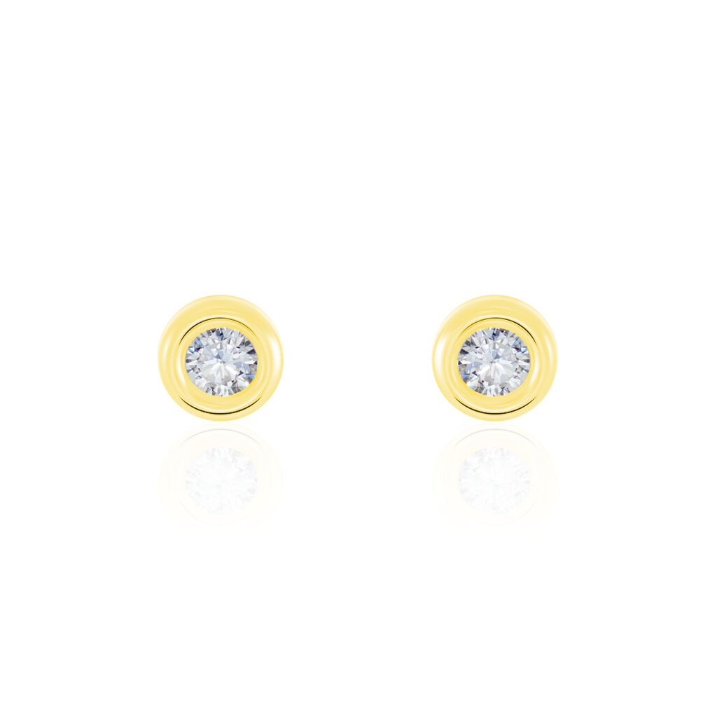 Boucles D'oreilles Puces Eden Serti Pneu Or Jaune Oxyde De Zirconium - Clous d'oreilles Femme | Histoire d'Or