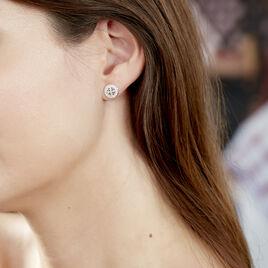 Boucles D'oreilles Puces Elfidiane Or Blanc Diamant - Clous d'oreilles Femme | Histoire d'Or