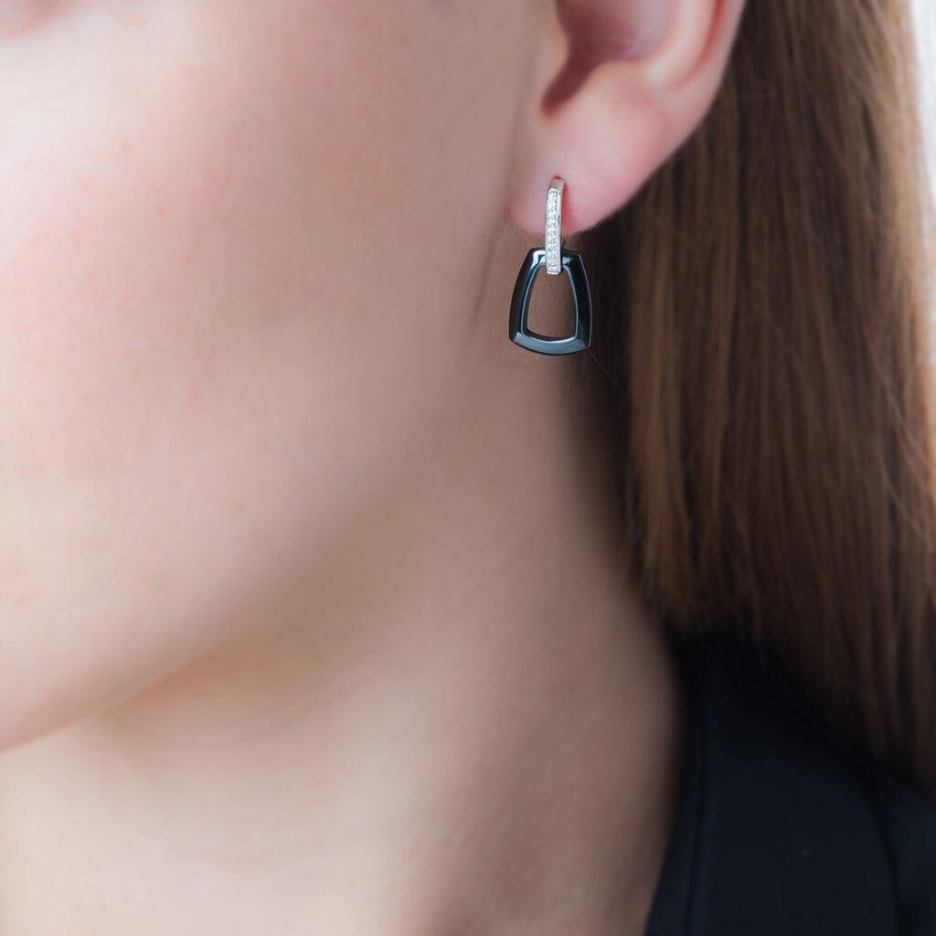 Boucles D'oreilles Pendantes Ezra Argent Céramique Et Oxyde - Boucles d'oreilles fantaisie Femme   Histoire d'Or