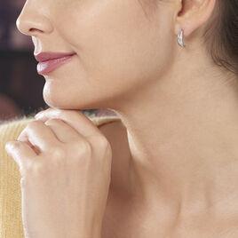 Créoles Otho Rondes Argent Blanc Oxyde De Zirconium - Boucles d'oreilles créoles Femme   Histoire d'Or