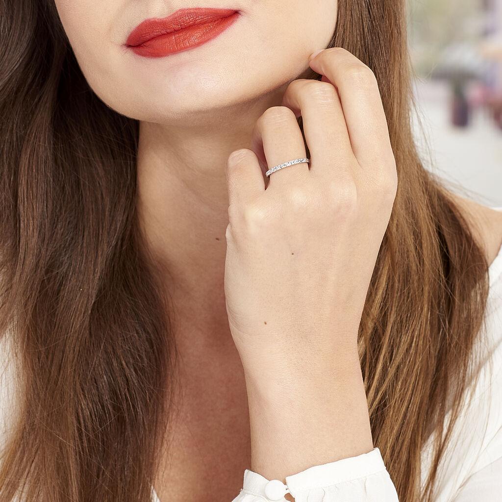 Alliance Fantaisie Diamantee Ruban Plat Or Blanc - Alliances Femme | Histoire d'Or