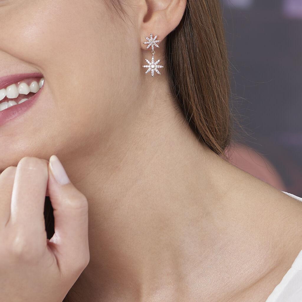 Boucles D'oreilles Pendantes Marcellina Plaque Or Oxyde De Zirconium - Boucles d'Oreilles Etoile Femme   Histoire d'Or