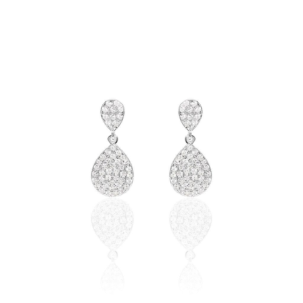 Boucles D'oreilles Pendantes Or Blanc Oxyde De Zirconium - Boucles d'oreilles pendantes Femme | Histoire d'Or