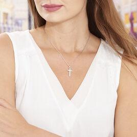 Collier Carola Argent Blanc Oxyde De Zirconium - Colliers Croix Femme | Histoire d'Or