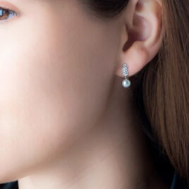 Boucles D'oreilles Pendantes Providence Argent Perle De Culture Oxyde - Boucles d'oreilles fantaisie Femme | Histoire d'Or