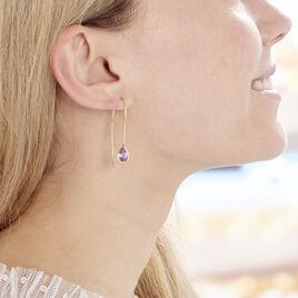 Créoles Phie Poire Or Jaune Amethyste - Boucles d'oreilles créoles Femme | Histoire d'Or