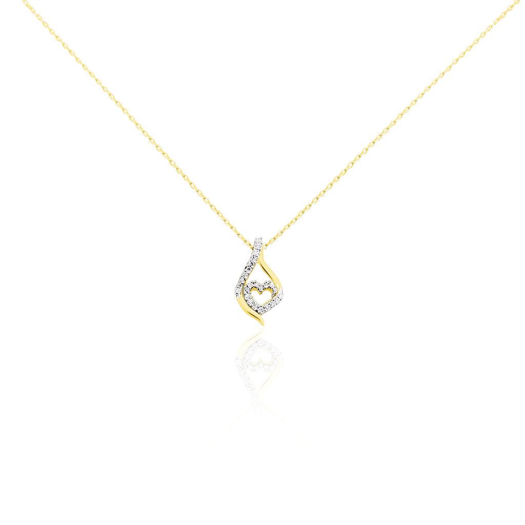 Collier Roso Or Jaune Diamant - Colliers Coeur Femme   Histoire d'Or
