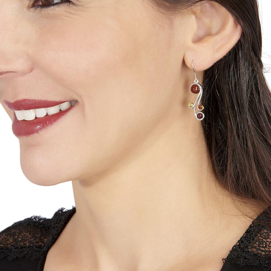 Boucles D'oreilles Pendantes Alexa Argent Blanc Ambre - Boucles d'oreilles fantaisie Femme   Histoire d'Or