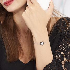 Bracelet Ana-paula Argent Blanc Céramique Et Oxyde De Zirconium - Bracelets Coeur Femme | Histoire d'Or