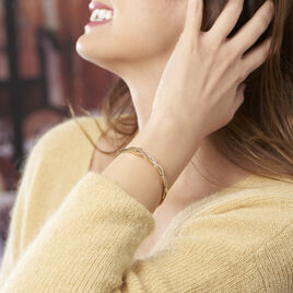 Bracelet Jonc Imae Plaque Or Jaune Oxyde De Zirconium - Bracelets joncs Femme | Histoire d'Or