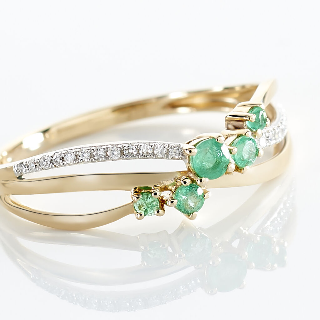 Bague Amarylis Or Jaune Emeraude Diamant - Bagues avec pierre Femme | Histoire d'Or