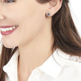 Boucles D'oreilles Puces Brivael Or Blanc Topaze Et Diamant - Clous d'oreilles Femme   Histoire d'Or