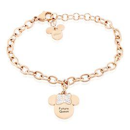 Bracelet Disney Acier Doré Rose Cristaux - Bracelets Naissance Enfant | Histoire d'Or