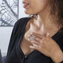 Collier Mauro Argent Rhodie Oxydes De Zirconium - Colliers Papillon Femme   Histoire d'Or