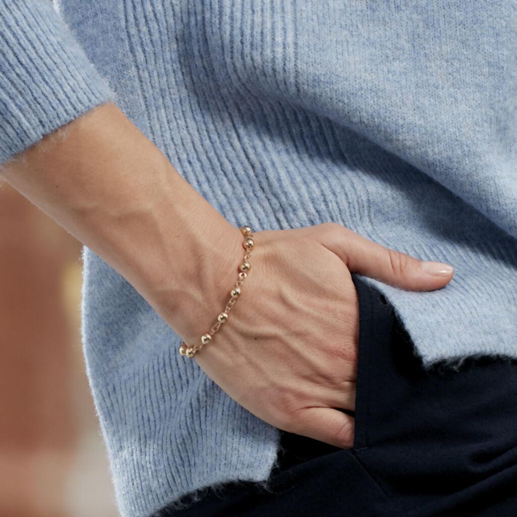Bracelet Viperine Maille Boules Plaque Or Jaune - Bracelets chaîne Femme | Histoire d'Or