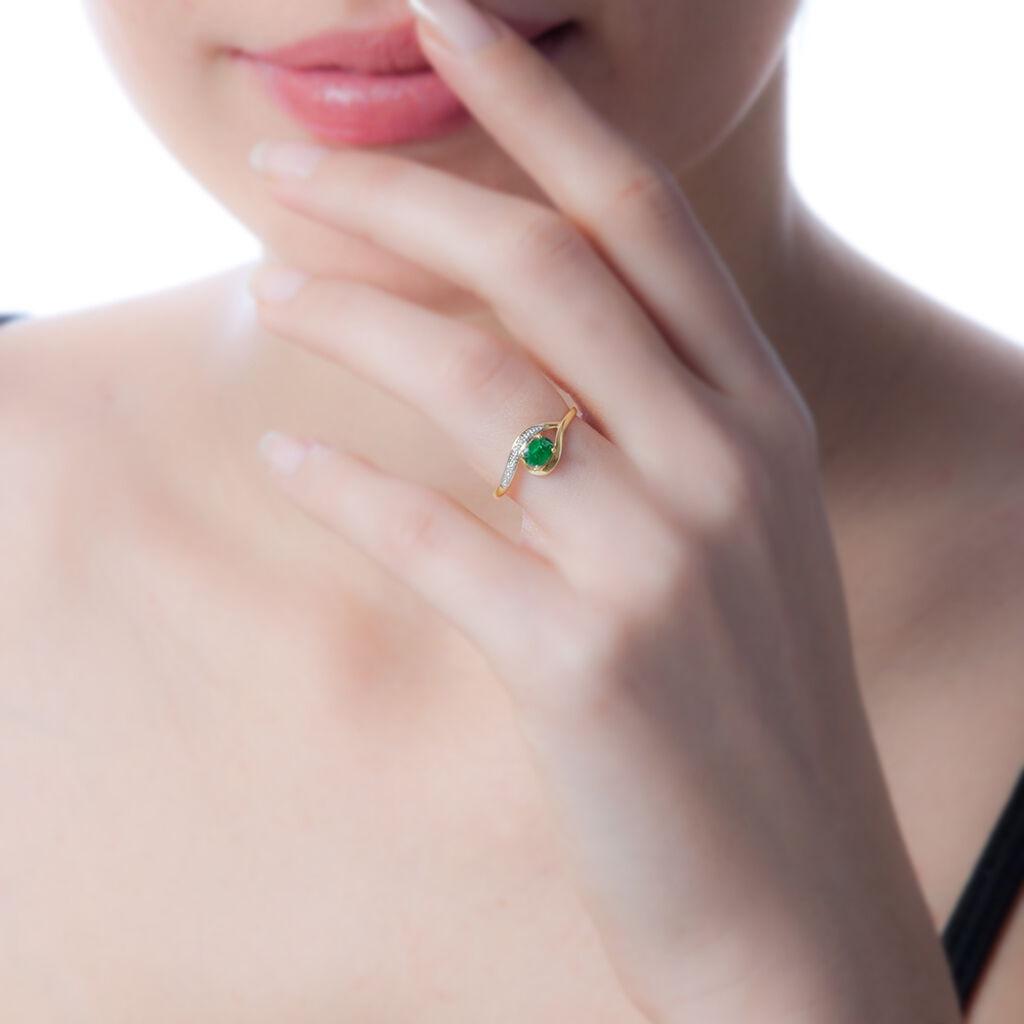 Bague Sagesse Or Jaune Emeraude Et Diamant - Bagues solitaires Femme   Histoire d'Or