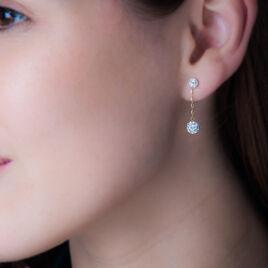 Boucles D'oreilles Pendantes Or Jaune Strass - Boucles d'oreilles pendantes Femme   Histoire d'Or