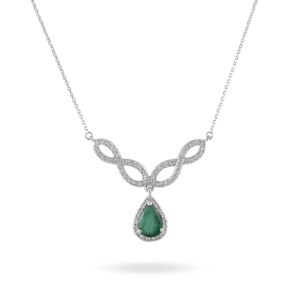 Collier Sissi Or Blanc Diamant Et Emeraude - Colliers Infini Femme   Histoire d'Or