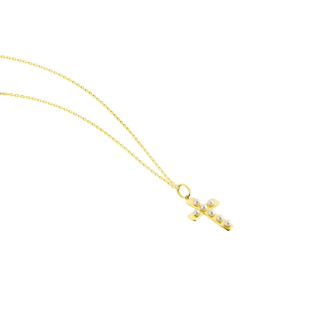 Collier Or Jaune Florrie Perles De Culture - Colliers Croix Femme | Histoire d'Or