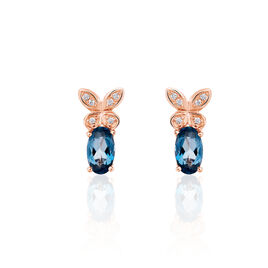 Boucles D'oreilles Puces Lora Or Rose Topaze Et Oxyde De Zirconium - Boucles d'Oreilles Papillon Femme | Histoire d'Or