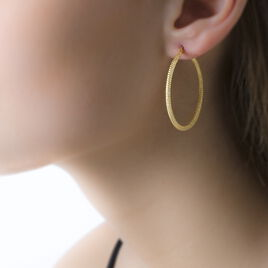 Créoles Ulrica Piquetees Fil Rond Or Jaune - Boucles d'oreilles créoles Femme   Histoire d'Or
