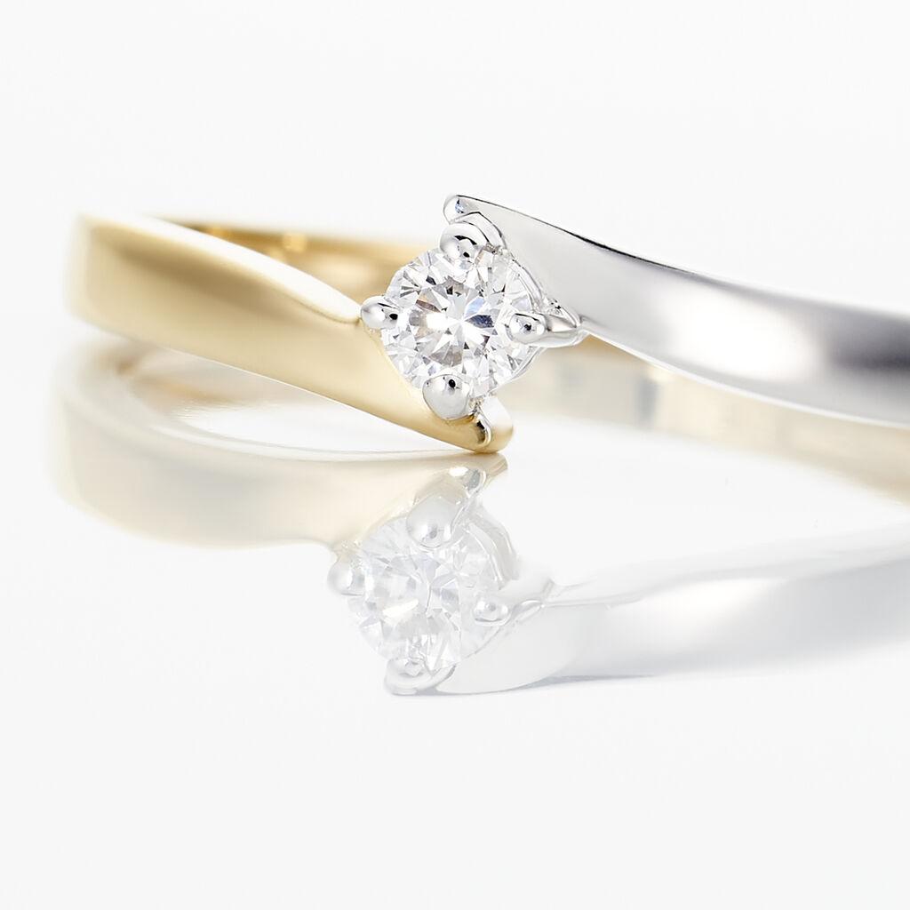 Bague Solitaire Francienne Or Bicolore Diamant - Bagues solitaires Femme | Histoire d'Or