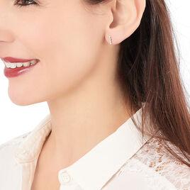 Boucles D'oreilles Pendantes Aryles Argent Rose Oxyde De Zirconium - Boucles d'oreilles fantaisie Femme | Histoire d'Or