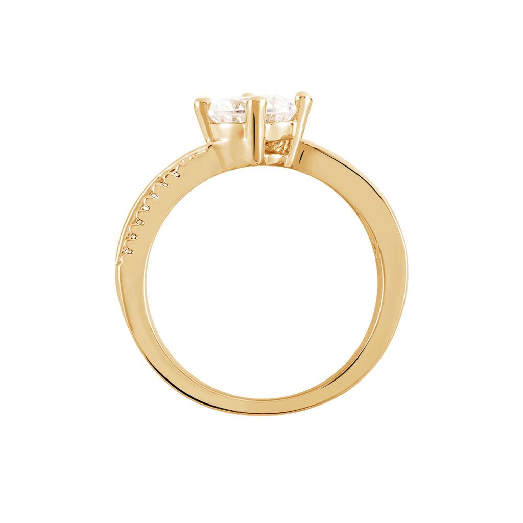 Bague Solitaire Sarah-lee Plaque Or Jaune Oxyde De Zirconium - Bagues solitaires Femme | Histoire d'Or