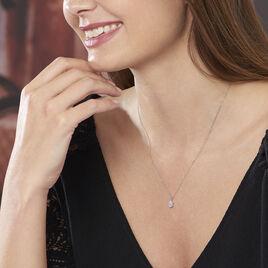 Collier Goutte Or Blanc Oxyde De Zirconium - Bijoux Femme   Histoire d'Or