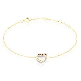 Bracelet Or Tricolore Anthime Oxydes De Zirconium - Bracelets Coeur Femme   Histoire d'Or