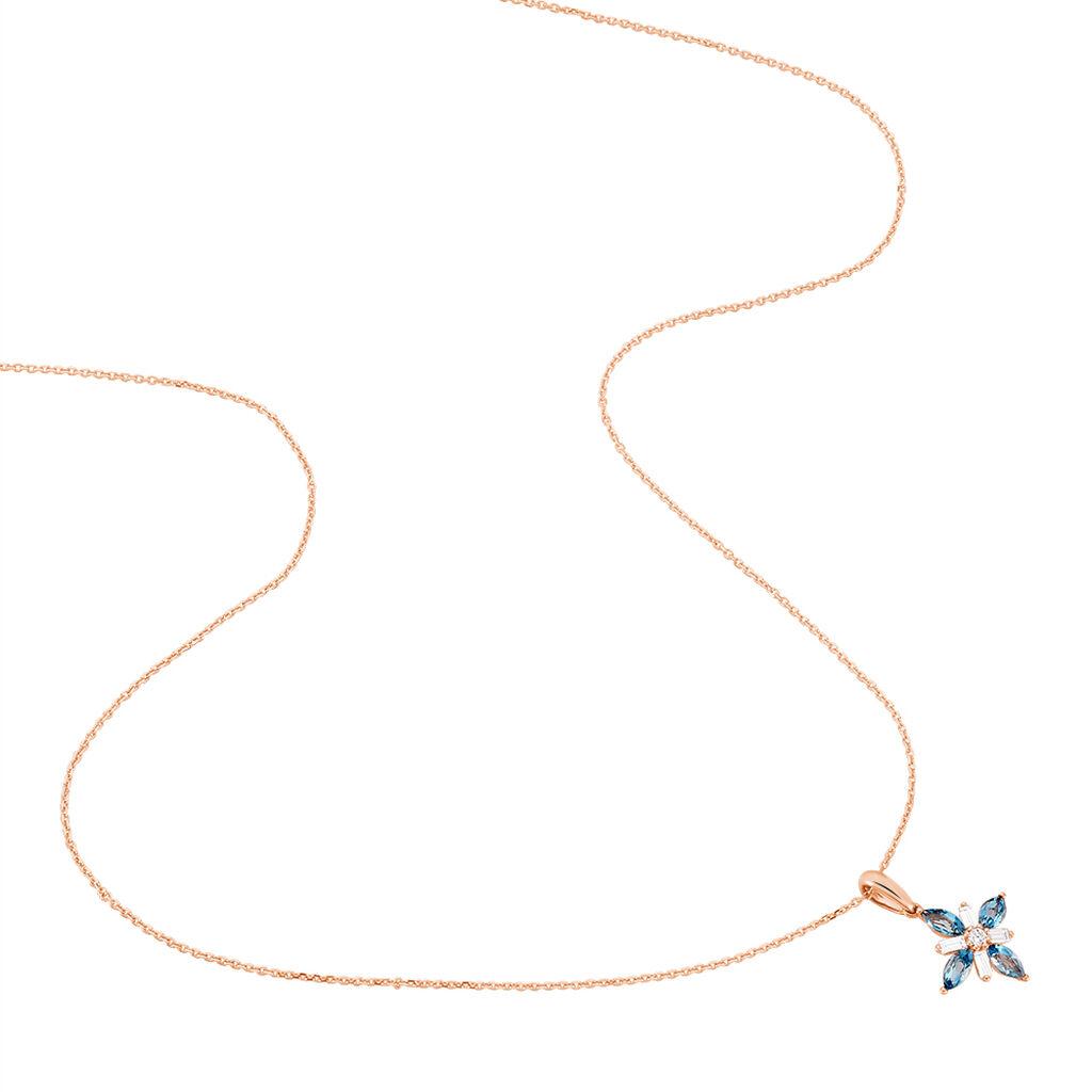 Collier Anabele Or Rose Topaze Et Oxyde De Zirconium - Bijoux Femme   Histoire d'Or