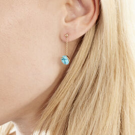 Boucles D'oreilles Pendantes Tu Plaque Or Jaune Pierre De Synthese - Boucles d'oreilles fantaisie Femme | Histoire d'Or