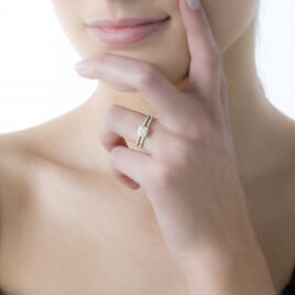 Bague Aude Or Rose Emeraude Et Diamant - Bagues avec pierre Femme | Histoire d'Or
