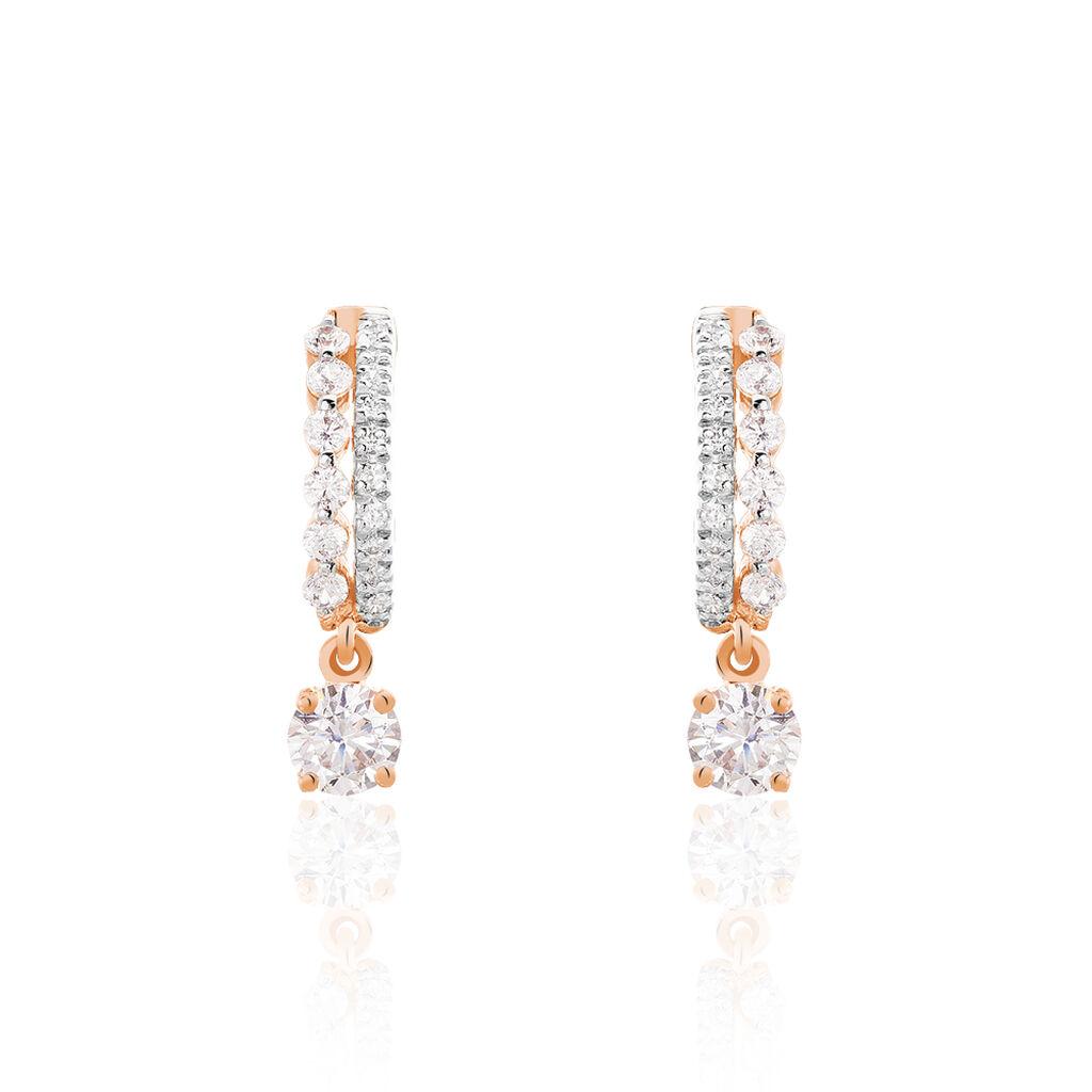 Boucles D'oreilles Pendantes Alie Or Rose Oxyde De Zirconium - Boucles d'Oreilles Coeur Femme   Histoire d'Or